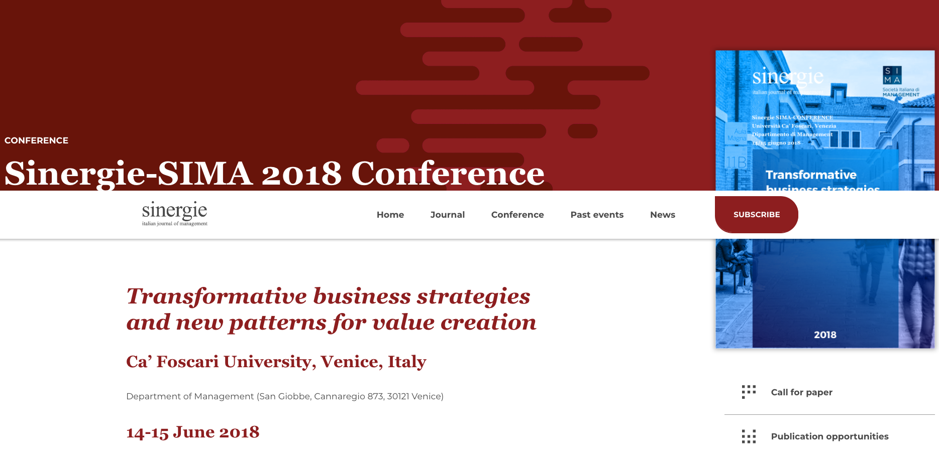 Sinergie-SIMA 2018 Conference – Sinergie